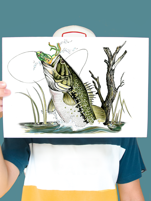 Leaping Bass Illustration - Print