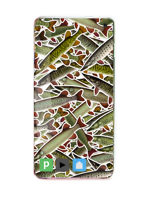Digital Wallpaper Cover - (Pike, Muskie, Pickerel) Stickerbomb Theme