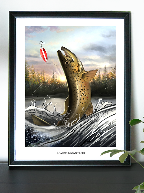 Leaping Brown Trout - Poster