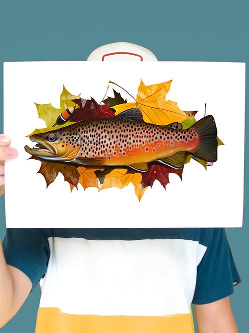Autumn Brown Trout Illustration - Print
