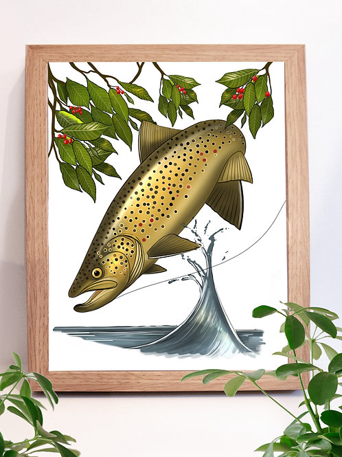 Wild Brown Illustration - Print