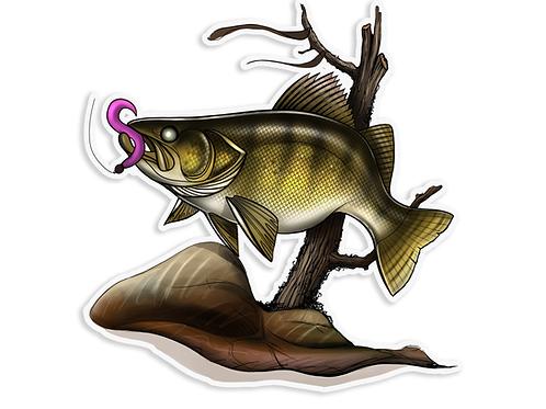 Walleye Illustration  - Waterproof Sticker