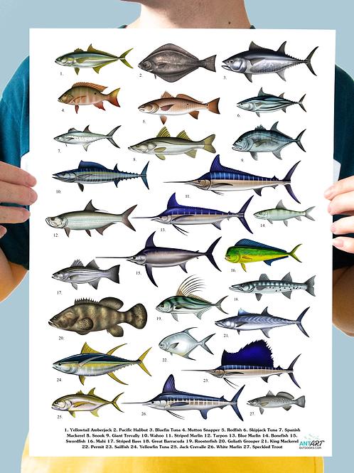 Saltwater Gamefish - Chart Print