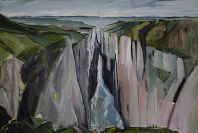 Chasm, 2018, Oil on Arches paper mounted on wood panel, 45 x 30