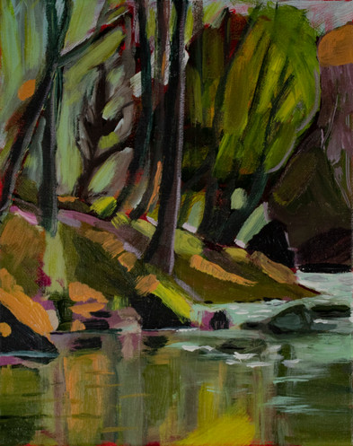 Fall on the Little North Fork, Santiam River, 2018, Acrylic on canvas, 8 x10