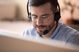Focused businessman telemarketer telesal