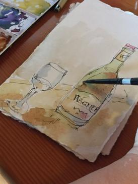 Delicious wine & happy sketch