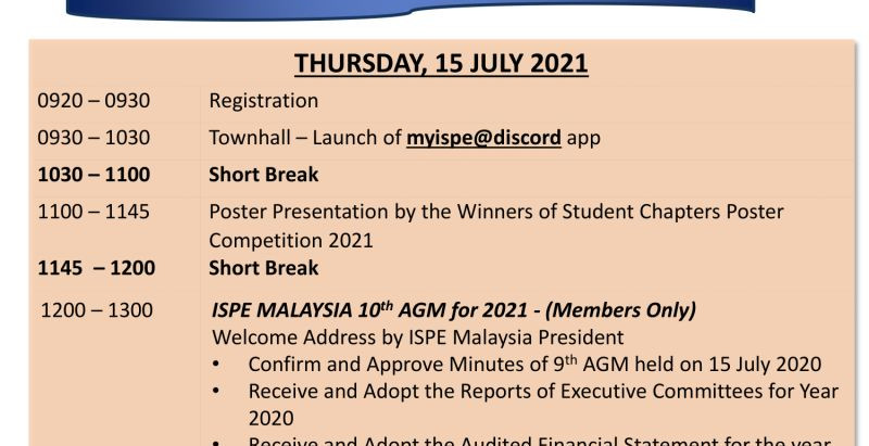 ISPE Malaysia 10th Annual General Meeting 2021 & Townhall