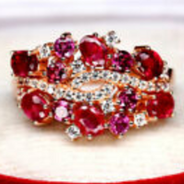 NATURAL RED RUBY RHODOLITE GARNET & CZ RING 925 STERLING SILVER SZ 6.75 #A7