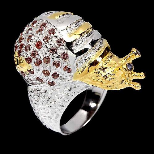 Round Tanzanite 2.5mm Sapphire Diamond Cut 925 S. Silver Snail Ring Size 8 #A11