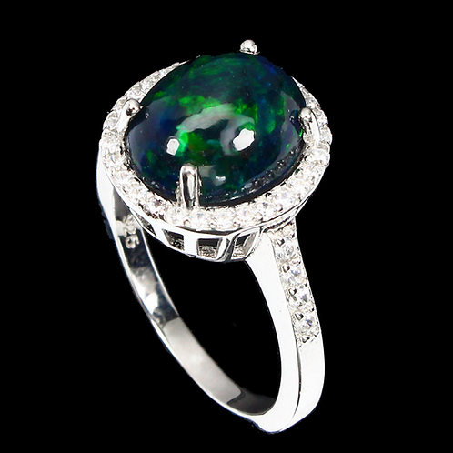 Oval Black Opal Hot Rainbow Luster 925 Sterling Silver ring size 8 # A6