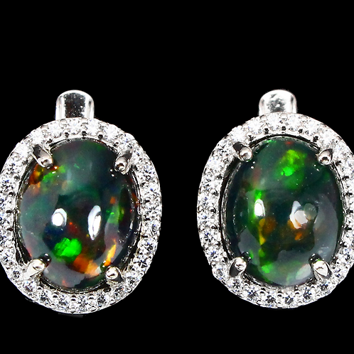 Oval Black Opal Hot Rainbow Luster 11x9mm Cz 925 Sterling Silver Earrings #A5