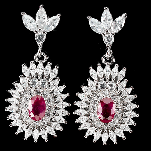 Oval Red Ruby 6x4mm Cz 14K White Gold Plate 925 Sterling Silver earing