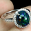 Thumbnail: Oval Black Opal Hot Rainbow Luster 925 Sterling Silver ring size 8 # A6