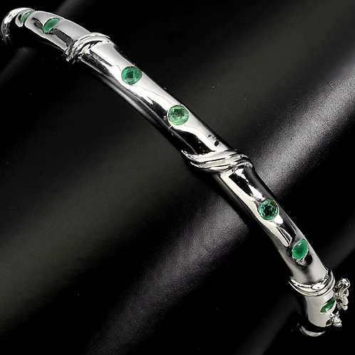 copy of Unheated Round Emerald 2mm 14K White Gold Plate 925S.silver Bangle S.7 #