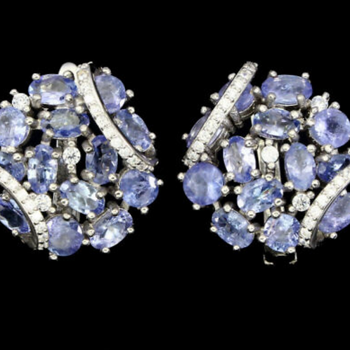 Unheated Oval Blue Tanzanite 5x3mm 925 Sterling Silver Earrings # A8