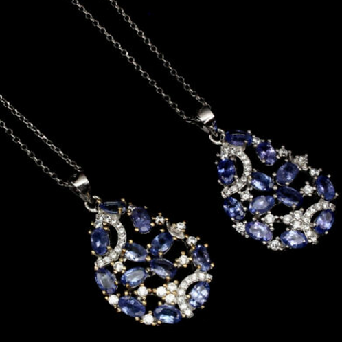 Oval Unheated Blue Tanzanite 5x3mm  925 Sterling Silver Necklace# A9
