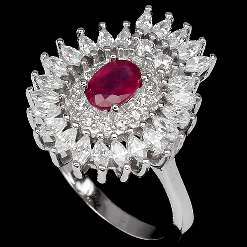 Oval Red Ruby 6x4mm Cz 14K White Gold Plate 925 Sterling Silver Ring Size 7