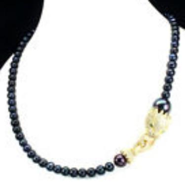 "Black Tahitan Color Pearl 16mm 925 Sterling Silver Tiger Necklace ""22  I"