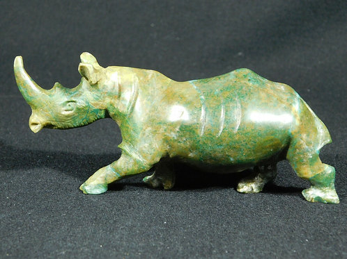 A Larger Deep Green! Rhinoceros or Rhino VERDITE Sculpture! From The Congo 195gr