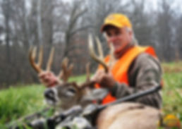 Illinois Ohio River Outfitters client with a massive Illinois whitetail deer that was harvested during the Illinois firearm season