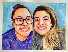Watercolor Double Portrait