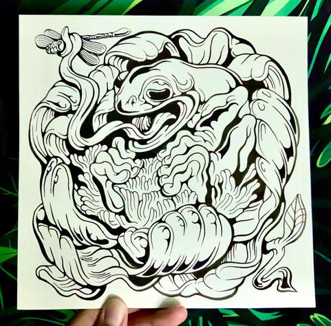 Line Art Animal Portrait, Ink on Waterco