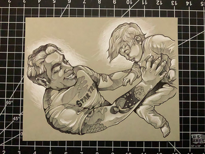 Ink Portrait of Husband and Son