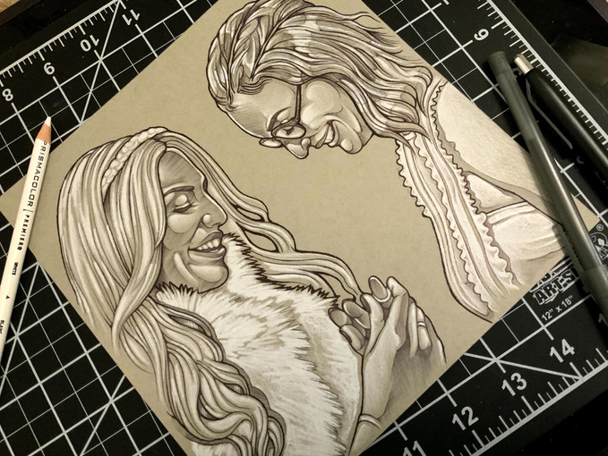 Double Wedding Portrait, Ink and Colored