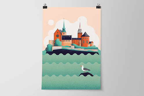 Oslo Akershus Fortress Poster A2