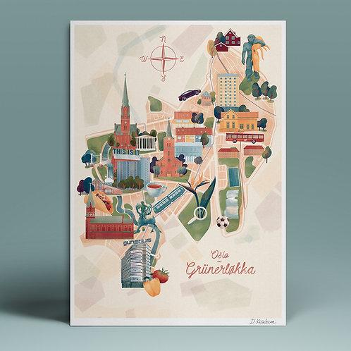 Grünerløkka Map Poster 22x31