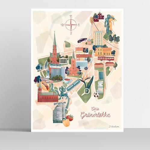 Grünerløkka Map Poster 31x41 cm