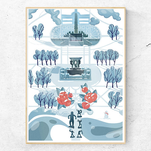 Frogner Park Winter Limited Edition Poster 50x70 cm