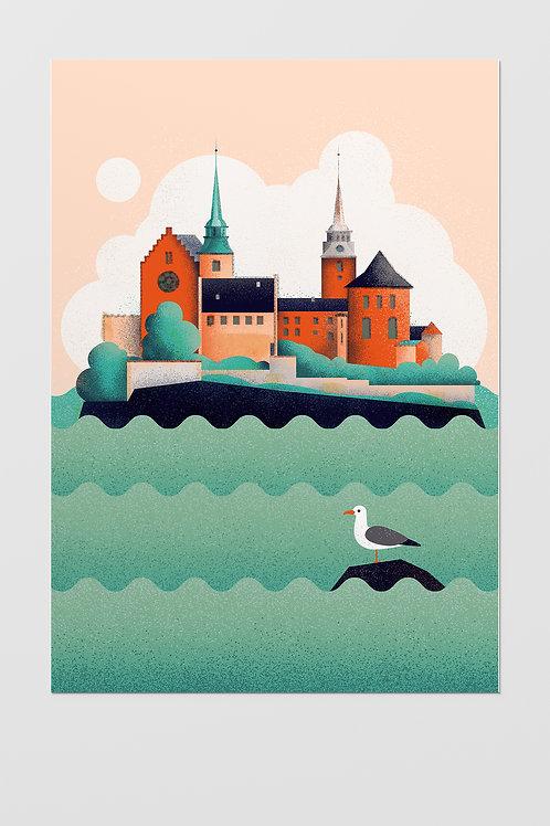 Oslo Akershus Castle Poster A3