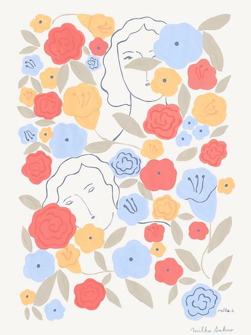 Among the flower garden