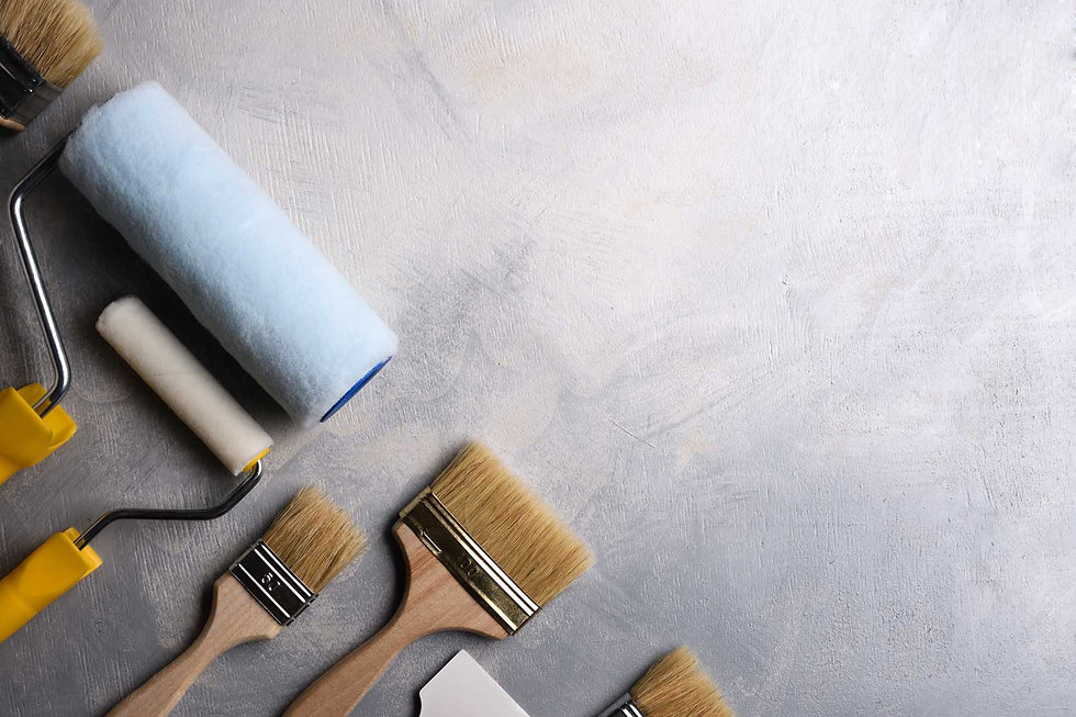 Brushes-and-paint-rollers-on-drywall-int