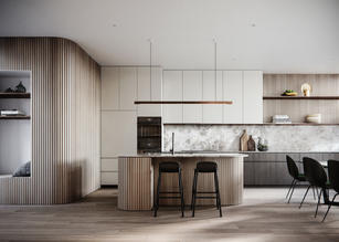 Contemporary curved timber kitchen desig