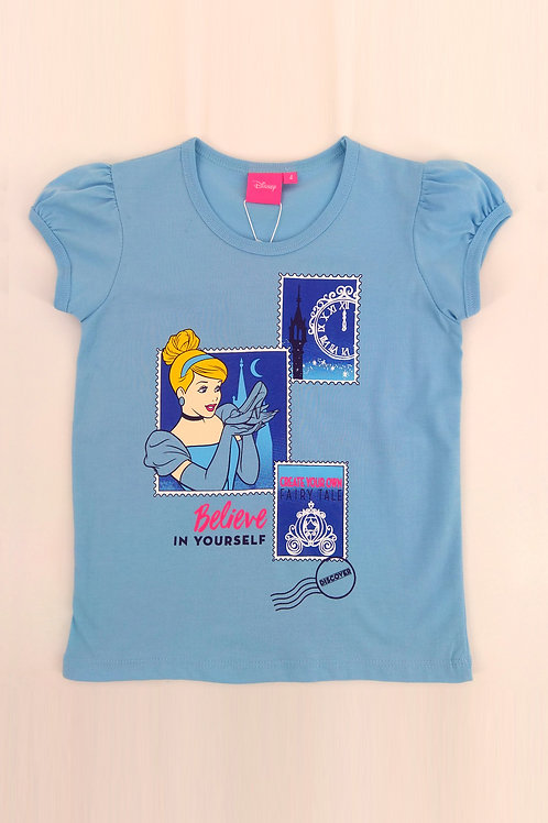 DP-4245-08 Disney Princess Cinderella Puff Sleeves Graphic Tee