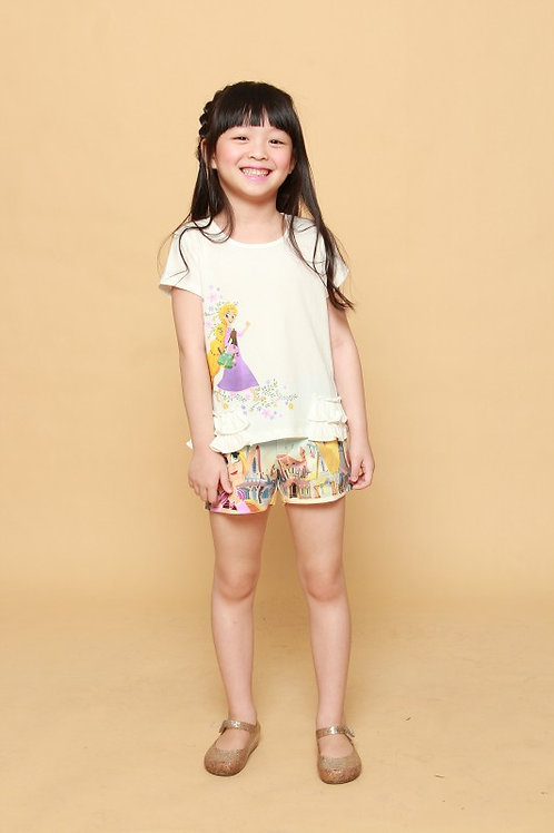 DP-4249-08 Disney Princess Tangled Tee with Ruffle Details