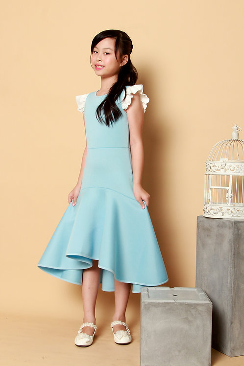 DP-4111-38 Disney Princess Cinderella Ruffle Sleeves Hi-Lo Dress