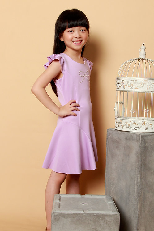 DP-4113-38 Disney Princess Rapunzel Bow Embellished Ballerina Dress