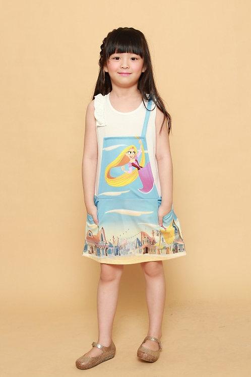 DP-4252-38 Disney Princess Tangled Full Print Ruffle Dress