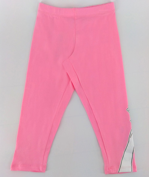 162f0874998be Pink leggings with Beauty and the Beat rose print on left leg hem.