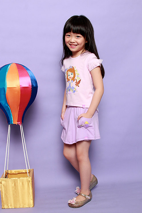 DSF-0451-08 Disney Sofia Pink Short Sleeves Tee with Tulle Details