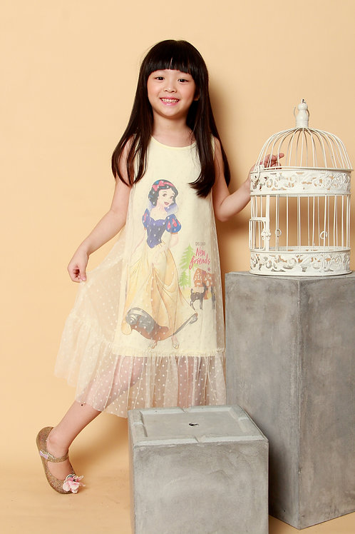 DP-4172-38 Disney Princess Snow White Yellow Midi Tulle Dress