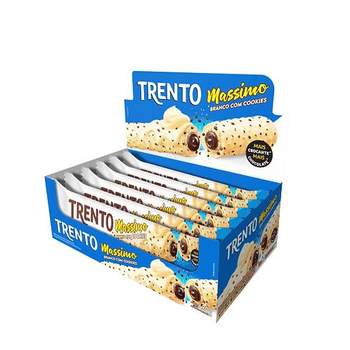 Wafer Trento Massimo Chocolate Branco com cookies Display com 16 unidades
