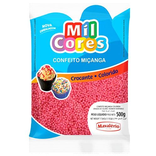 Confeito Miçanga Mil Cores Mavalério Rosa 500g