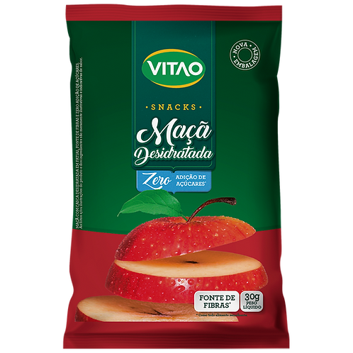 Snacks  Maçã Desidratada Zero Açúcar Vitao  30g