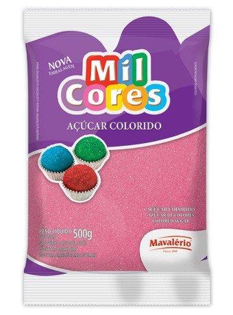 Açúcar Colorido Mil Cores Mavalério Rosa 500g