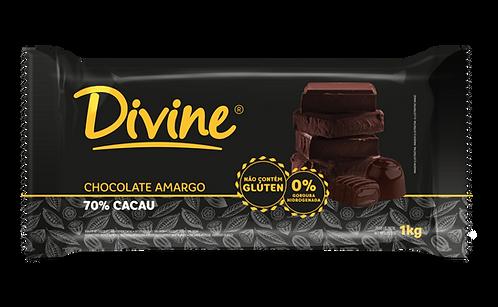 Chocolate Amargo 70% Cacau Divine 1kg